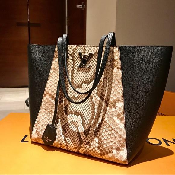 cfec6b56e77a Louis Vuitton Python LOCKME CABAS Handbag